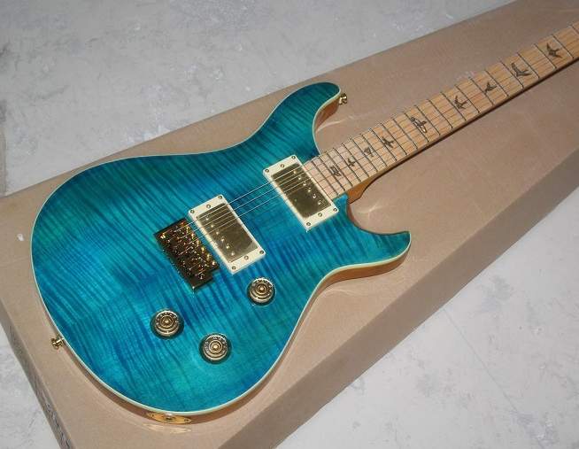 guitars china Factory shop The electric guitar Golden accessories Tiger stripes maple cover sky blue guitarra Free shipping(China (Mainland))