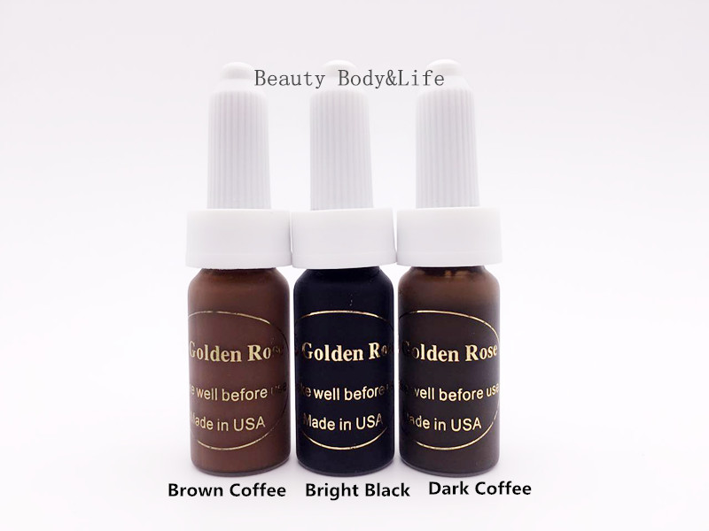 Free Shipping 3Pcs/Set 3 Colours Permanent Makeup Pigment High Quality Tattoo Ink