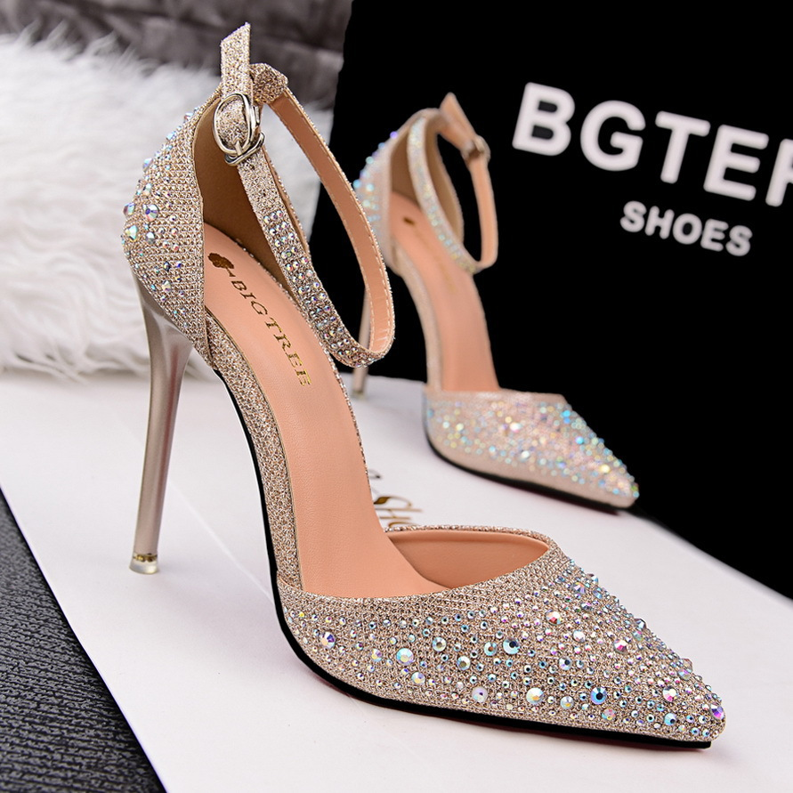 New Luxury Rhinestone Red Bottom High Heels Women Wedding Shoes Sexy Ankle Strap Pointed Toe  Women Pumps Ladies Evening Shoes