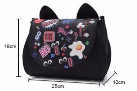 Cartoon Graffiti Edgy Small Flap Bag Women Cute Cat Ears Designer Ladies Lovely Chain Shoulder Bag Fashion Casual Crossbody Bag
