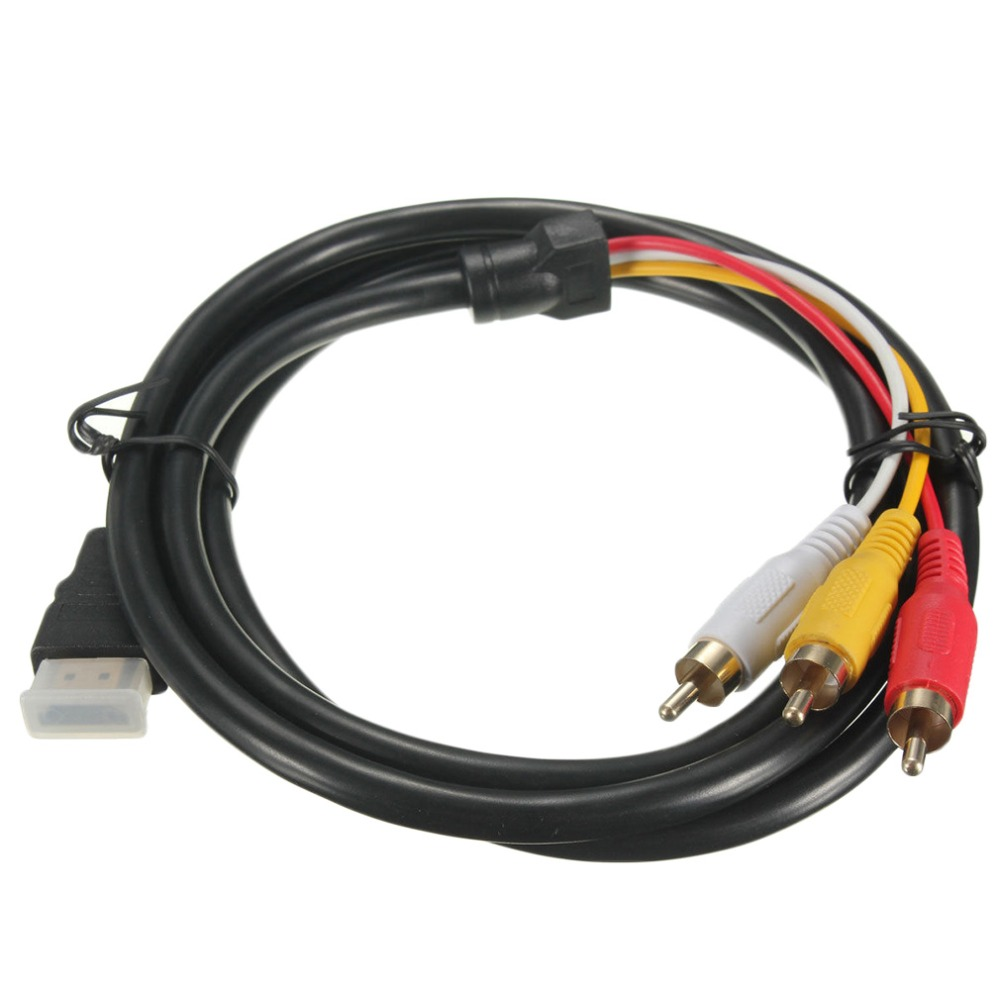 5 Feet 1080P HDTV HDMI Male to 3 RCA Audio Video AV Cable Cord Adapter Converter Connector Component Cable Lead For HDTV NEW(China (Mainland))