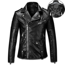 New 2015 Hot Sale Autumn Casual Biker Jacket High Quality Crystal Skull Black Leather Jackets Men Slim Fit Asymmetrical Zipper(China (Mainland))