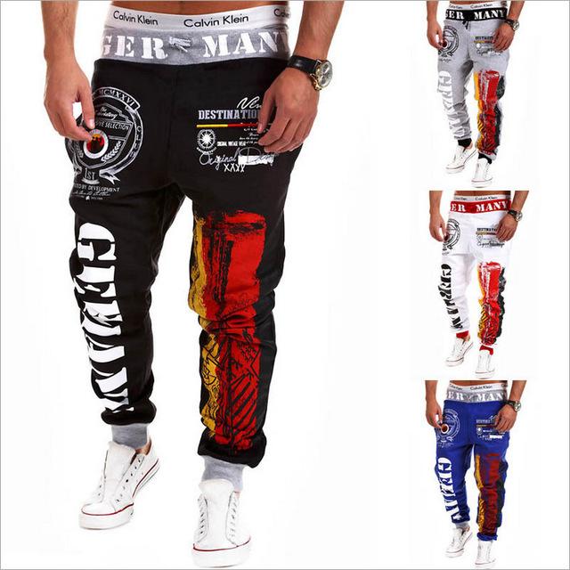 2015 свободного покроя широкий хлопковые брюки марка мода спортивные мужские бегунов ...
