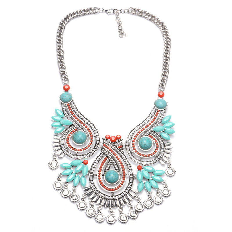 Vintage Nature Turquoise Silver Plated Necklace clear crystal Pendant Heart Bib Necklaces 2016 Collar Statement Necklace XX30(China (Mainland))