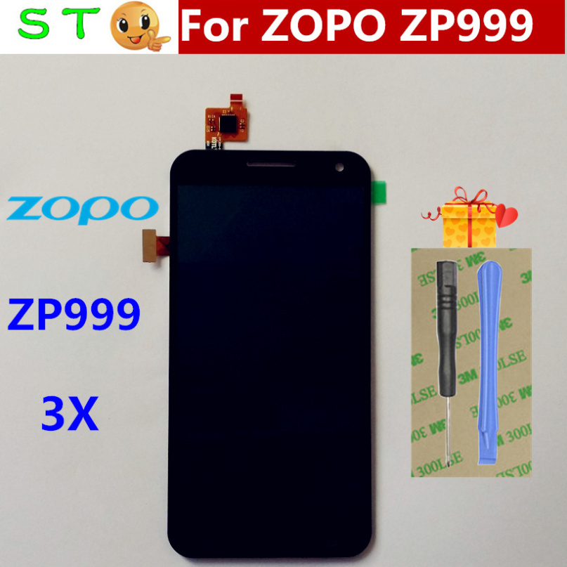 For Iocean ZOPO 3X LCD Display With Digitizer Touch Screen without Frame Assembly black color for ZOPO ZP999 3X