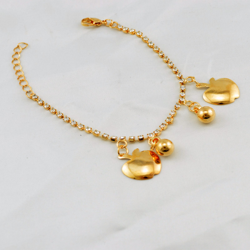 Charming Women Jewelry Simple Fashion Chain Bracelets Created Diamond Crystal Bangles Round Cute Apple Pendants Bracelet()