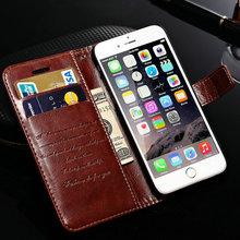 """Vintage di lusso del basamento cassa di cuoio del raccoglitore per il iphone 6 4.7 """"flip stile del libro phone cover bag con supporto di carta(China (Mainland))"""