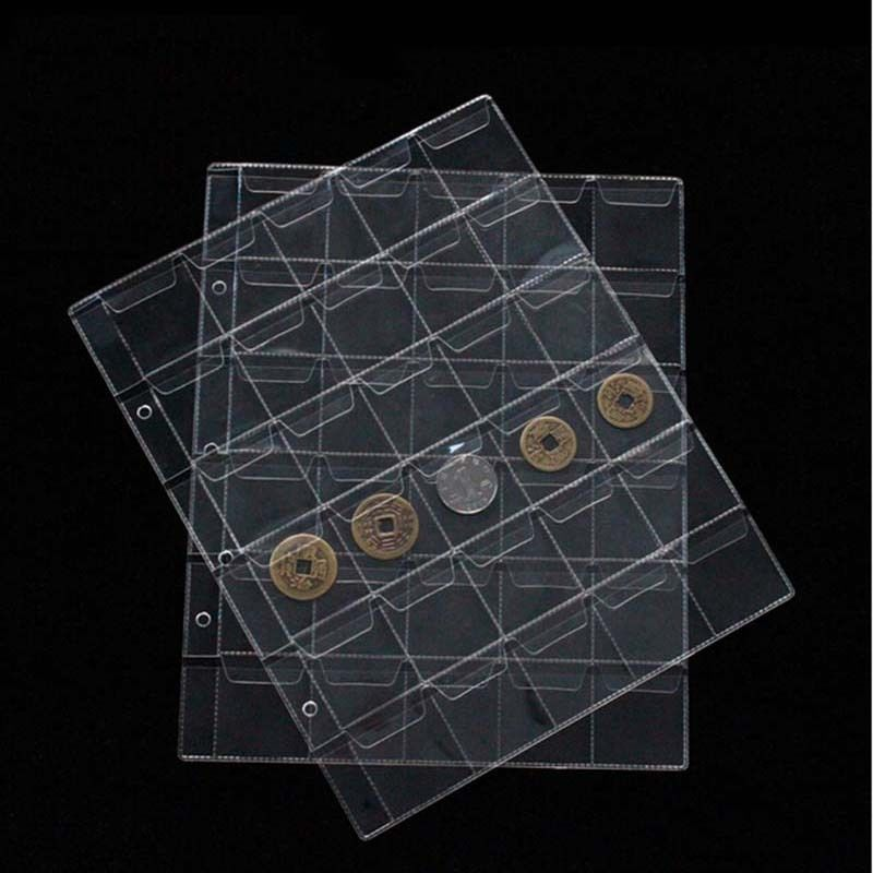 NEW 1Pcs/30 Pockets Coin Album Page Folder Clear Pockets Coin Storage Album Pages 252x200mm(China (Mainland))