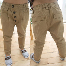 Children Baby Clothes Kid Boys Retro Khaki Casual Pants Straight Trousers 2-7Y