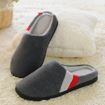 2015 Winter New Men's Cotton Slippers Quality Coral Velvet Warm Indoor Shoes Non-slip Soft Bottom Shoes Home Floor Slippers
