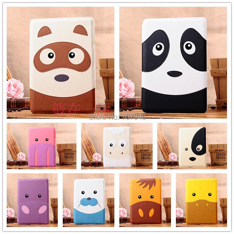 cartoon animal face cuty panda horse Racoon Pig Dog duck seal stand case cover PU leather for tablet PC apple iPad mini 1 2(China (Mainland))