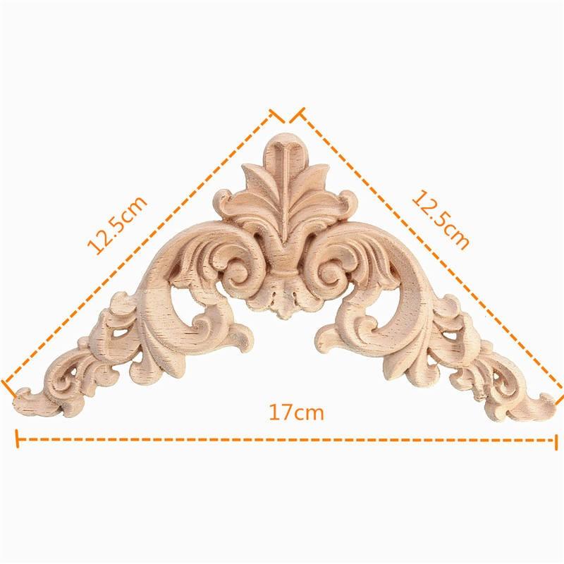 KiWarm New 1PC 12.5 x 12.5cm Wood Oak Carved Corner Onlay Applique Furniture Unpainted Decorative Figurines Wooden Miniatures