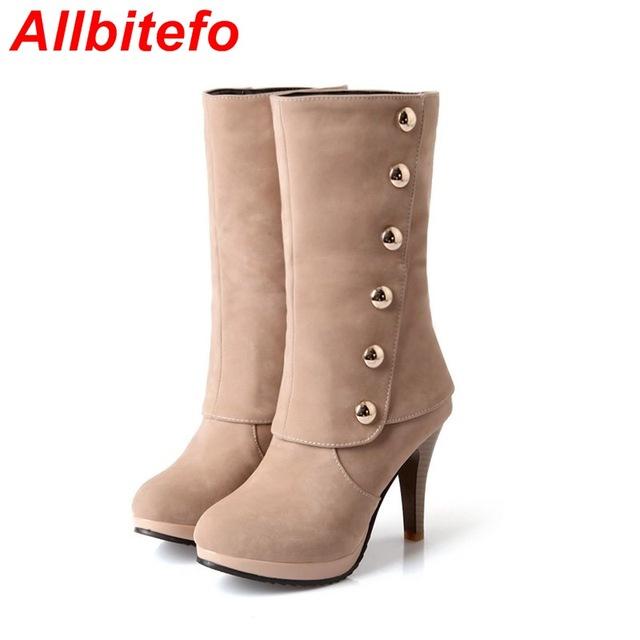 Плюс размер 33-43 Кнопка Новое прибытие 2015 Осень зима ботинки Женщин сапоги Высокий ...