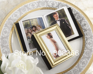 Free shipping 9pcs/lot Gold theme wedding gift Placecard Holder and Mini Photo Album For name card holder party favors(China (Mainland))