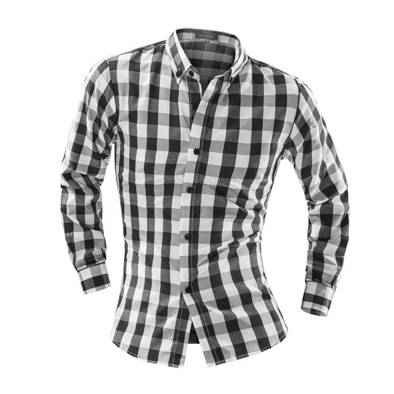 Plaid Shirt man Long Sleeve Mens Dress Shirts Slim Fit Casual ShirtsMen's Shirts High Quality For Male(China (Mainland))
