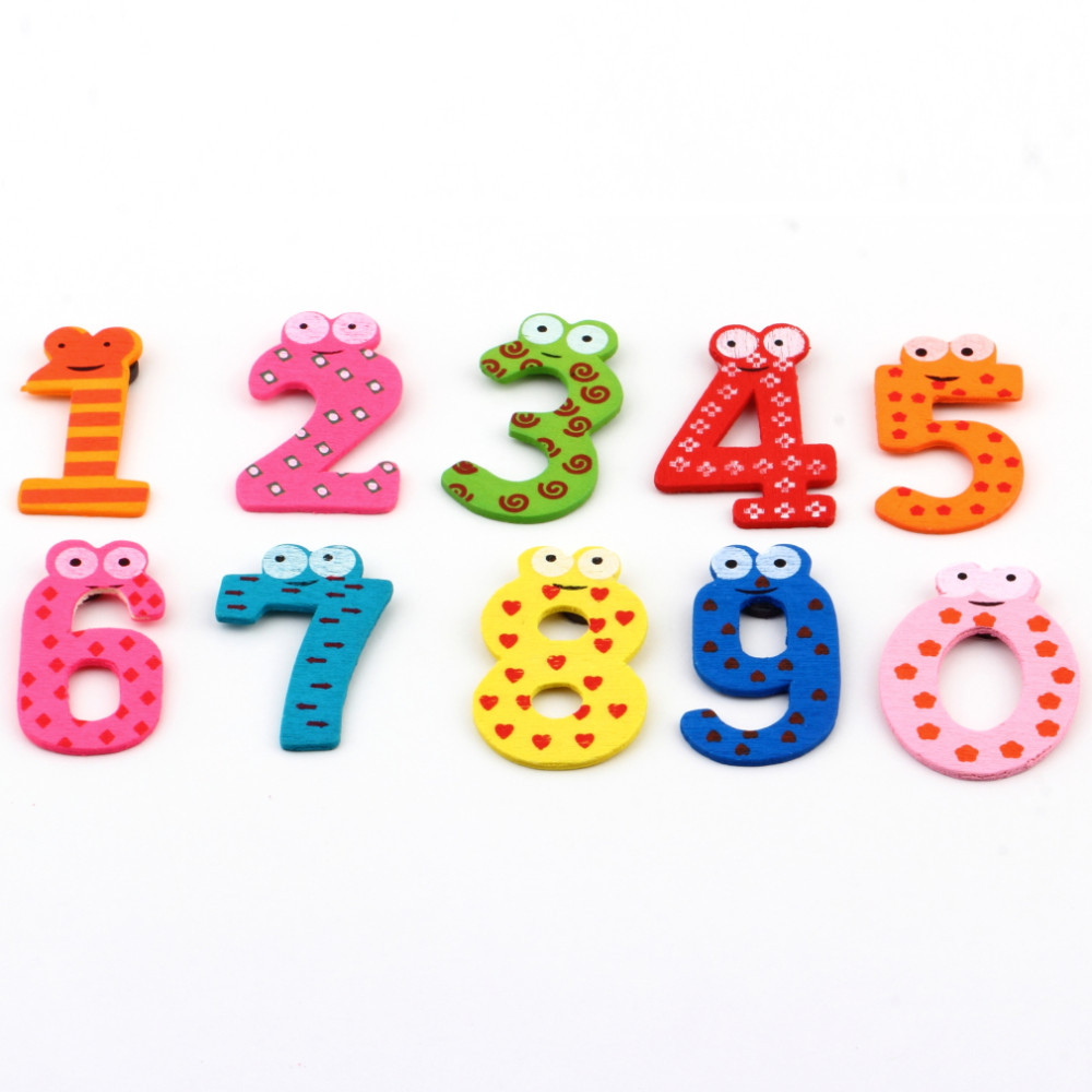 1set X mas Gift Set 10 Number Wooden Fridge Magnet Education Learn Cute Kid Baby Toy(China (Mainland))