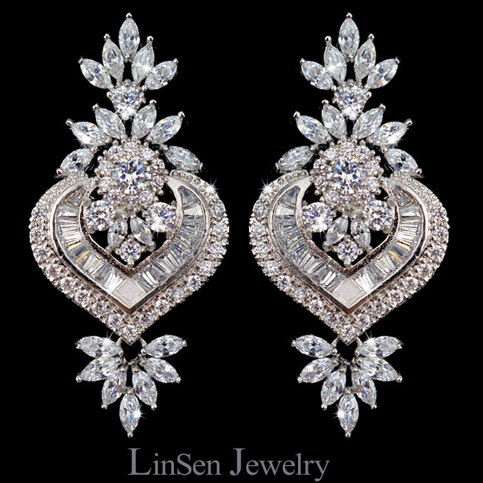 New design luxury Cubic Zirconia pendientes vintage earrings,fashion micro paved AAA CZ jewelry earrings for wedding/gift/party(China (Mainland))