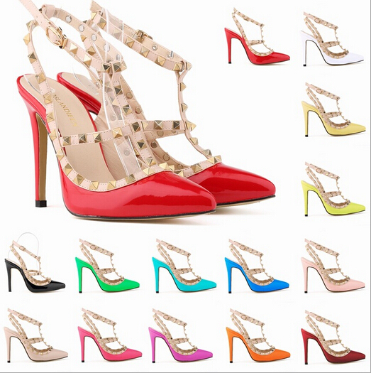 Gladiator Sandals Women Summer Shoes For Wedding Party High Heel Sandals Pointed Toe Rivets Sexy Sandal Sandalias Mujer 6<br><br>Aliexpress
