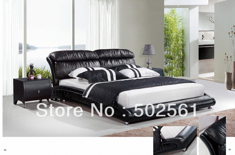2014 new top grain leather bed European modern casual bedroom furniture include salt(China (Mainland))