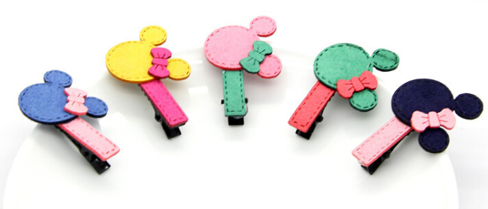 10pcs/Lot 2015 New Kids/Girl/Princess/Baby Acrylic Micky Hair Clip /Hair Accessories Color Mixed(China (Mainland))