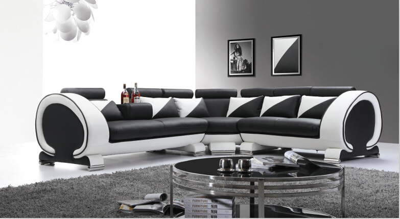 Sofa set living room furniture leather sofa with genuine leather sectional sofa Black&White(China (Mainland))