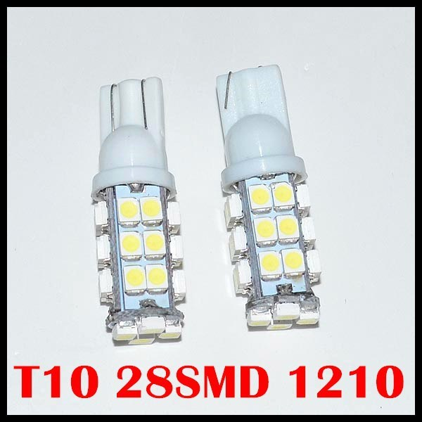 Free Shipping Wholesale 50pcsT10 28led light Car light w5w led light w5w 28Smd Led 1206 3528smd Wedge Light Bulb Lamp 12v