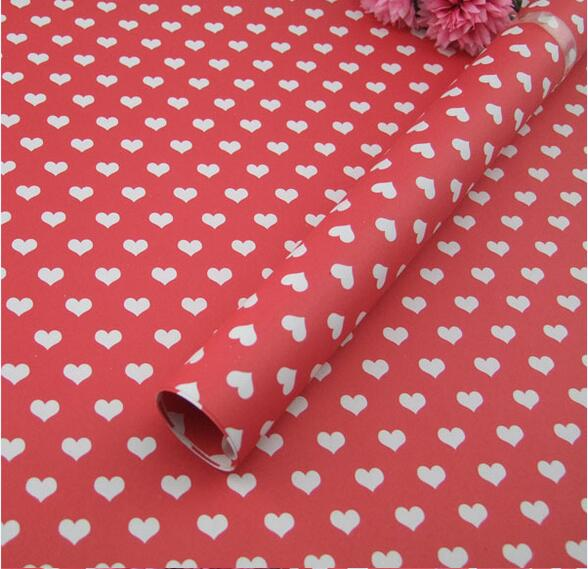 60g Fancy Design Gift Wrapping Paper Heart Shaped 52*75cm Wrapping Paper For Daily Gift Souvenir(China (Mainland))