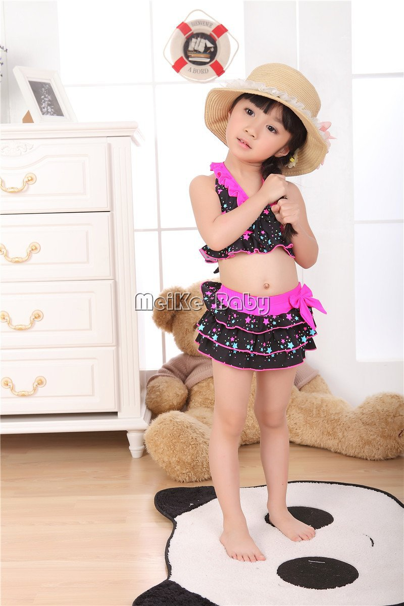 new design pentagram print baby girl bikini swimwear+swim cap 3pcs/set beachwear/kid's swimwear/swimwear 5set/lot