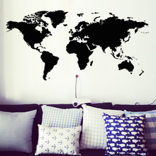 Creative Home Decor World Map Atlas Wall Sticker Black Printed Bedroom Decorative Removable Adhesive Vinyl Poster For Wall Decal(China (Mainland))