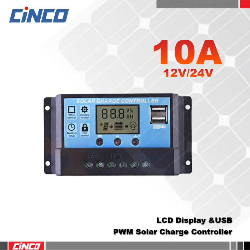 10A 12V/24V, New solar controller charge solar battery , LCD display, dual USB output 5V.for solar energy system(China (Mainland))