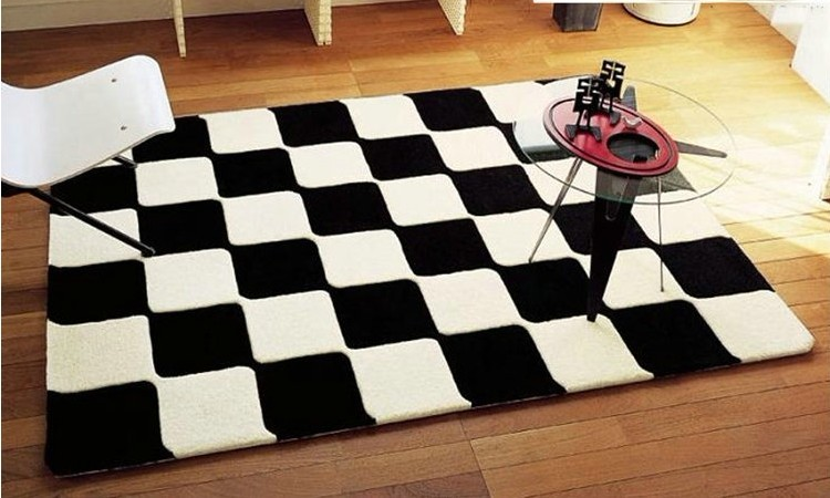 Br ve moderne noir et blanc carreaux tapis pour salon de for Tapis salon black friday
