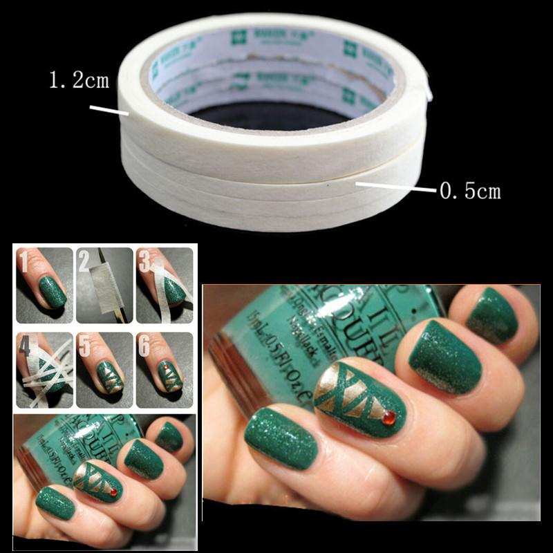 New 2015 17m Beauty White Stripe Tape Roll Nail Art Edge Guide Tips DIY Sticker 0.5cm/1.2(China (Mainland))