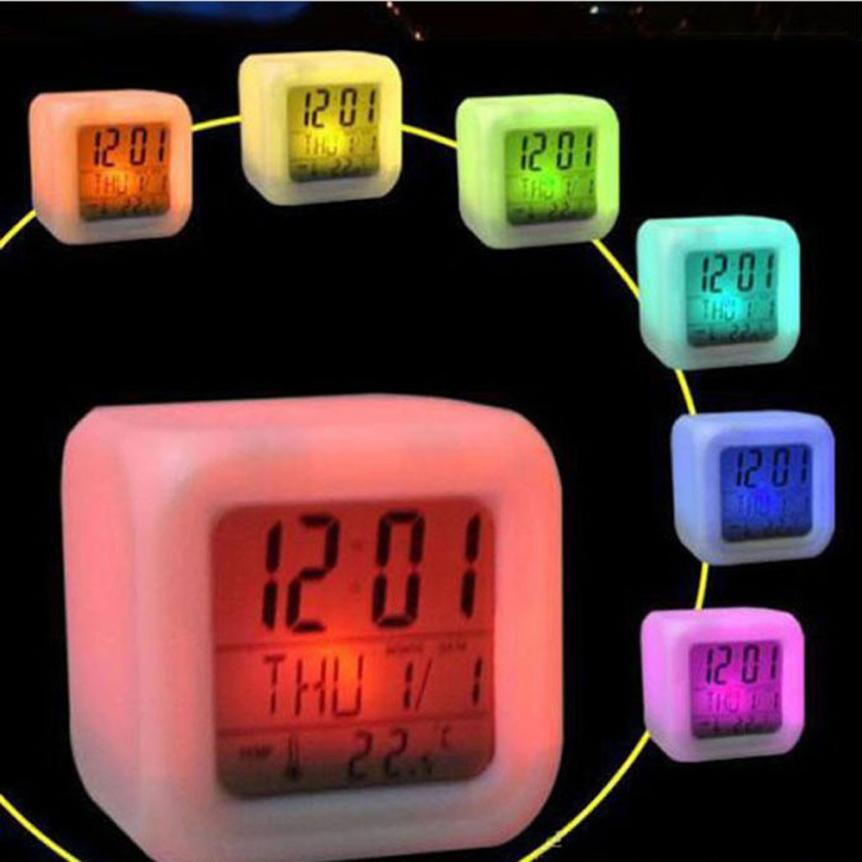 Fashion Digital Alarm Thermometer Night Glowing Cube 7 Colors Changeable Alarm LED Flashing Krystal(China (Mainland))