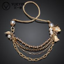 MCM005 Fashion long necklace Elegant Crystal Resin Women braided Necklace