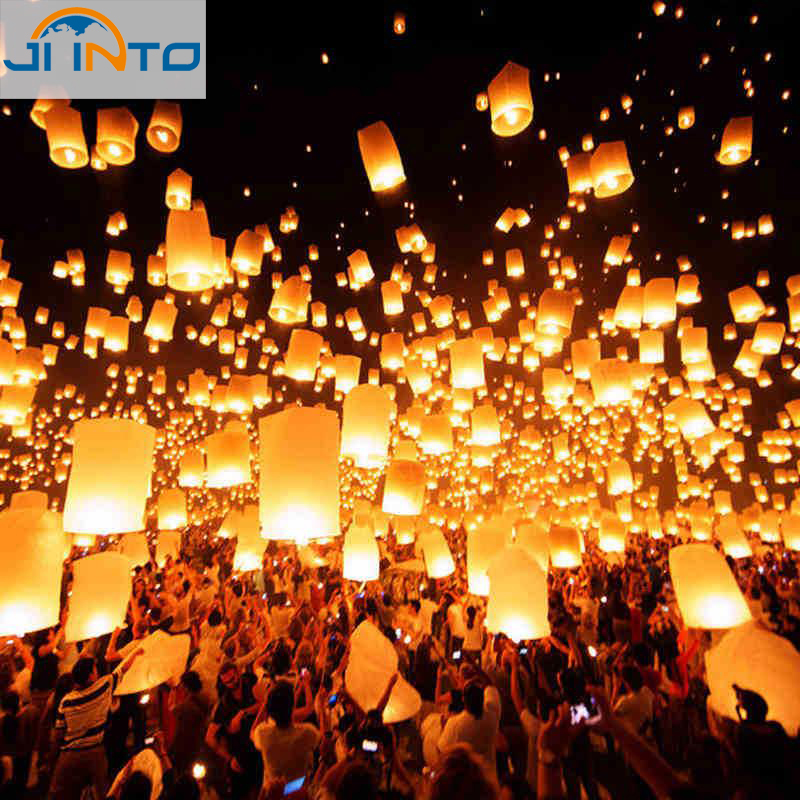 Romantic Sky Lanterns Paper Flying Balloons with Fuel For Wedding Party Birthday Casamento Decoration (10pcs)(China (Mainland))