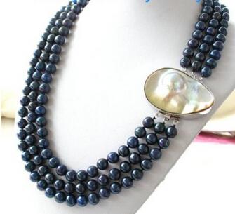 Здесь можно купить  xiuli 0015555 3Strands Blue Round Freshwater Pearl Necklace Big Mabe Clasp  Ювелирные изделия и часы