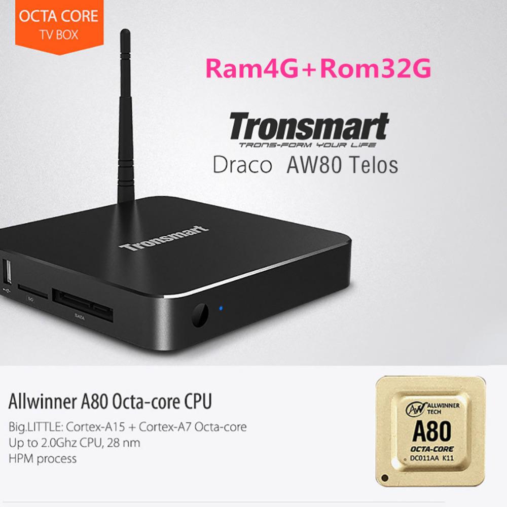 Телеприставка Tronsmart AW80 Android Allwinner A80 Core 4G /32G 802.11ac 2.4 G/5 WiFi 4 K * 2 K h.265 SATA Linux Tronsmart Draco AW80 Telos
