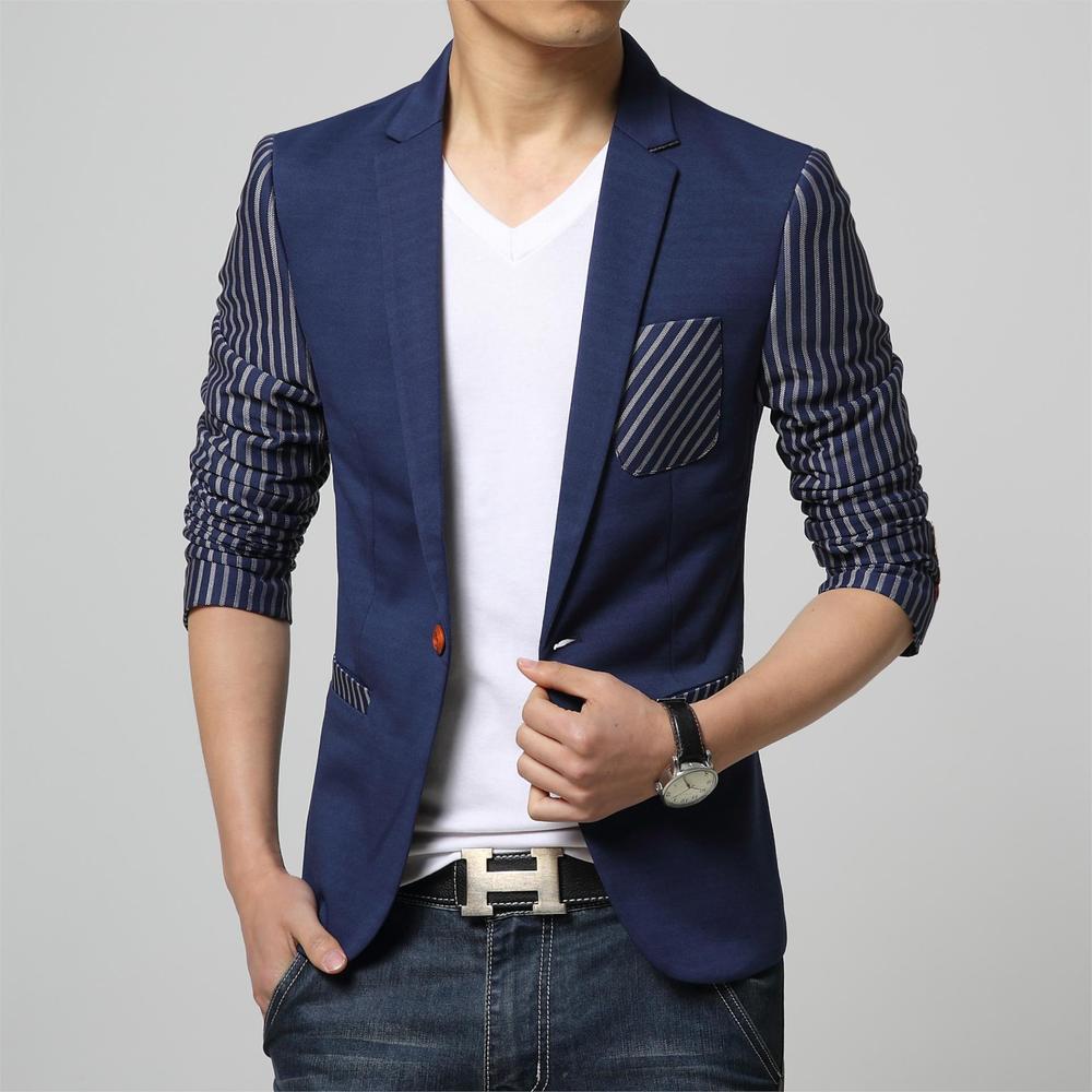 men casual slim fit stripe brand blazer suit jacket blue. Black Bedroom Furniture Sets. Home Design Ideas