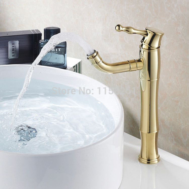 Free Shipping Modern Gold Faucet Gold Bathroom Faucets Gold Finish Basin Faucets Gold Color