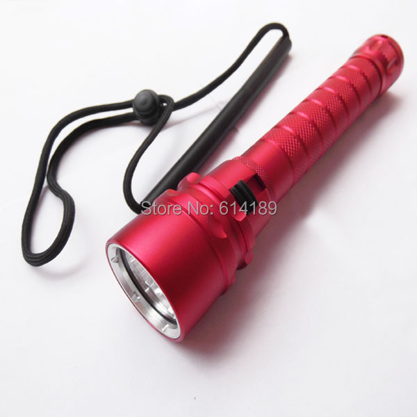 3xCREE XM-L2 U2 1500 Lumens Stepless Dimming Red Body LED Diving Flashlight (2x18650)  -  Shenzhen NuoSenDa Electronics Ltd. store