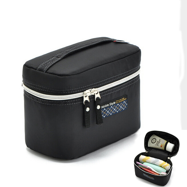 2015 Promotion Women's Fashion Black Waterproof Nylon organizer Cosmetic Cases Makeup Storage Travel Outdoor Toiletry Bags S009(China (Mainland))