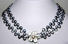 Charming design 2 Rows Freshwater Black Pearl Shell Flower Clasp Necklace fashion jewelry,gift free shipping(China (Mainland))