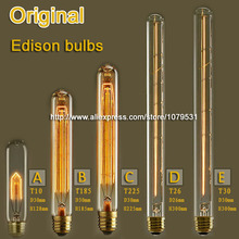E27 Flute Vintage Edison Bulb 25W 40W 60W T10 T185 T225 T26 T30 Incandescent Bulb for edison light 110V 220V(China (Mainland))