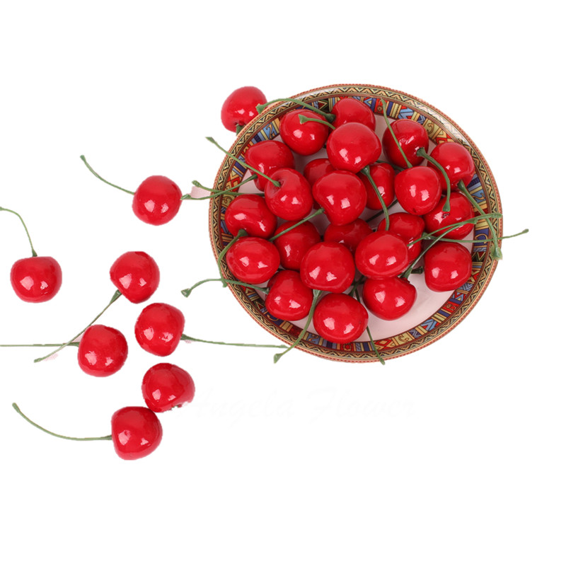 Cute 30pcs/bag artificial Fruit Simulation cherry Lucky fruit silk flower home table decoration Photo props(China (Mainland))