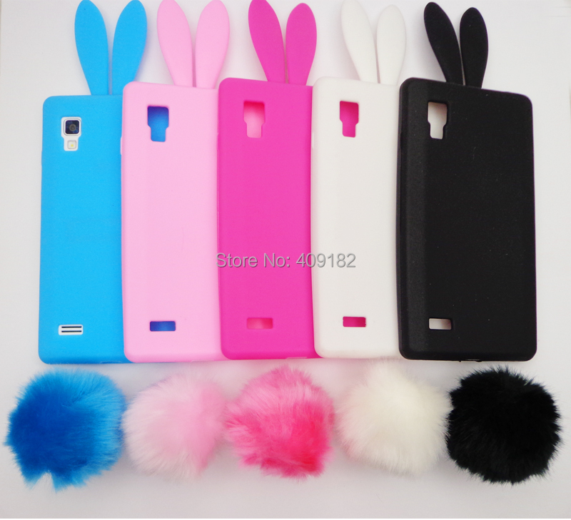 Lovely Cute Bunny TPU Silicon Rabbit Stand Holder Soft Back Cover Case For LG Optimus L9 P760 P765(China (Mainland))