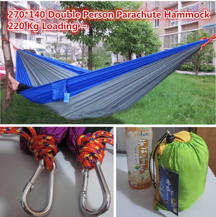Double person hammock parachute portable outdoor camping indoor home garden sleeping hammock bed 220kg Max loading free shipping(China (Mainland))