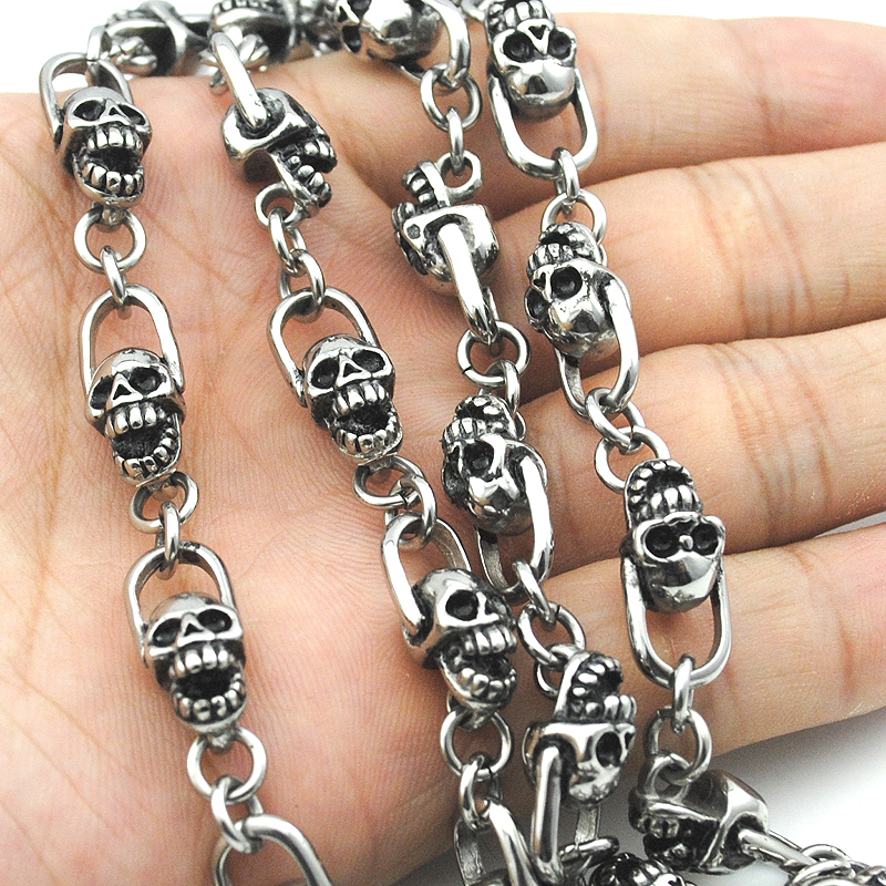 55cm Fashion Vintage 8mm Casting Retro Skull Chain Link Necklace Antique Biker Jewellery For Male Halloween Gifts BN272<br><br>Aliexpress