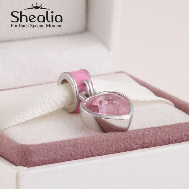 Shealia 925 из серебра с эмалью розовый хрустальное в форме сердца качает подвески подвеска для женщин известный браслеты diy изготовления ювелирных изделий