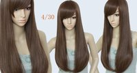 Free shipping,26inches 200g Brazian Blended hair Woman's Fashion wigs #4T30,LIGHT BROWN