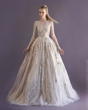Illusion Long Sleeves Ball Gown Floral Appliques Sequins Modest Prom Party Gowns Beads Dress(China (Mainland))